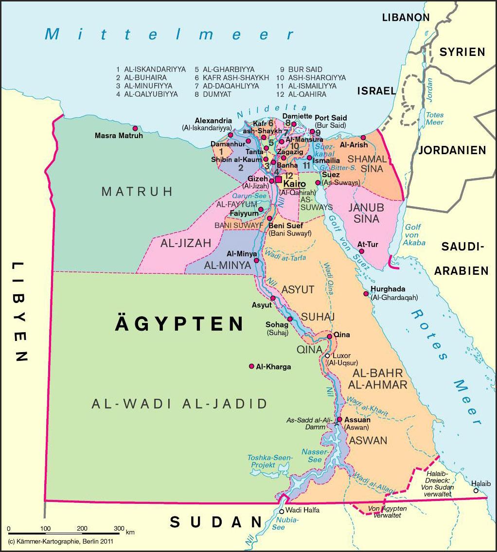 Landkarte Von Agypten Top Sehenswurdigkeiten